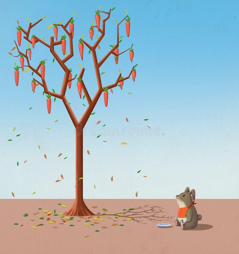 Illustration för barn: När ska morötterna växa på trädnedgången? De hungriga kaninerna kan inte vänta stock illustrationer