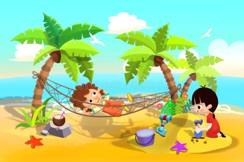 Illustration för barn: Ungelek på sandstrand, en som sover i hängmattan, en som spelar i sander vektor illustrationer