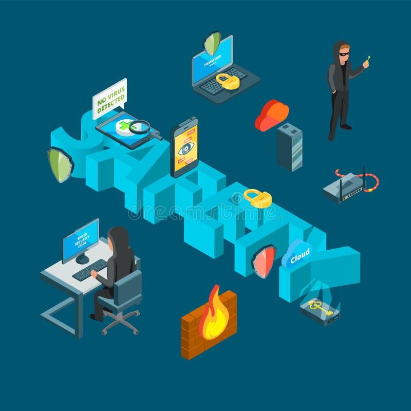 Illustration för begrepp för data för vektor isometrisk och för datorsäkerhetssymboler infographic stock illustrationer