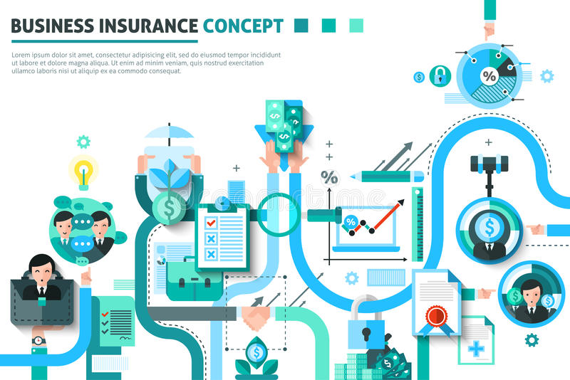 Illustration för begrepp för affärsförsäkring stock illustrationer