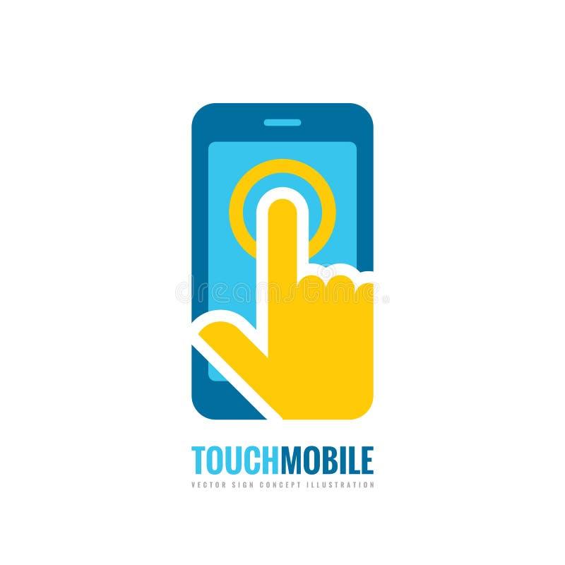 Illustration för begrepp för mall för mobiltelefonvektorlogo Smartphone idérikt tecken Mobiltelefonsymbol Teknologi för handlagbl stock illustrationer