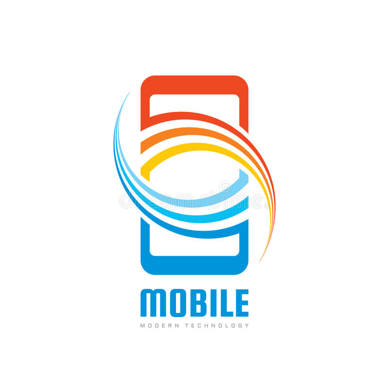 Illustration för begrepp för mall för mobiltelefonvektorlogo Smartphone idérikt tecken modern teknologi Mobiltelefonsymbol pilar  stock illustrationer