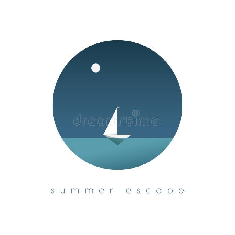 Illustration för begrepp för sommarferier med havsikt i något exotiskt läge Segelbåt eller yacht som symbol av resanden royaltyfri illustrationer