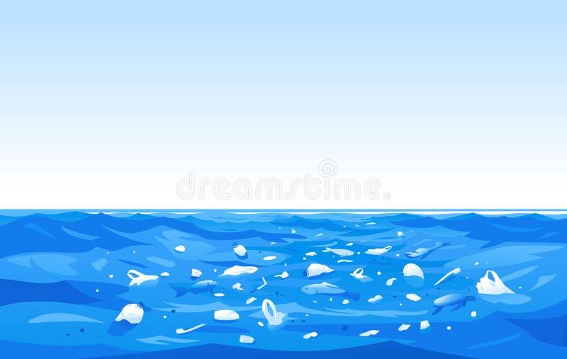 Illustration för begrepp för havplast-förorening vektor illustrationer