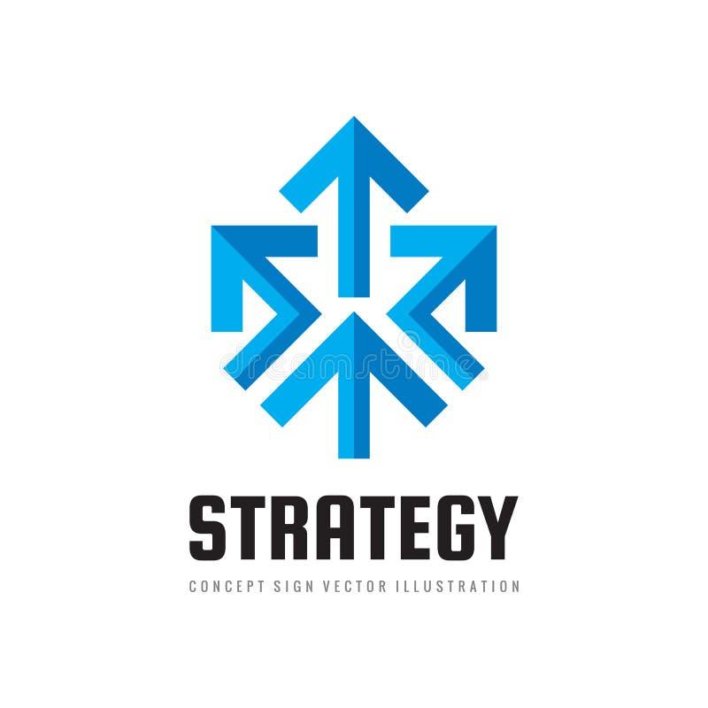 Illustration för begrepp för mall för logo för vektor för affärsstrategi Idérikt tecken för tre pilar Symbol för framstegutveckli royaltyfri illustrationer