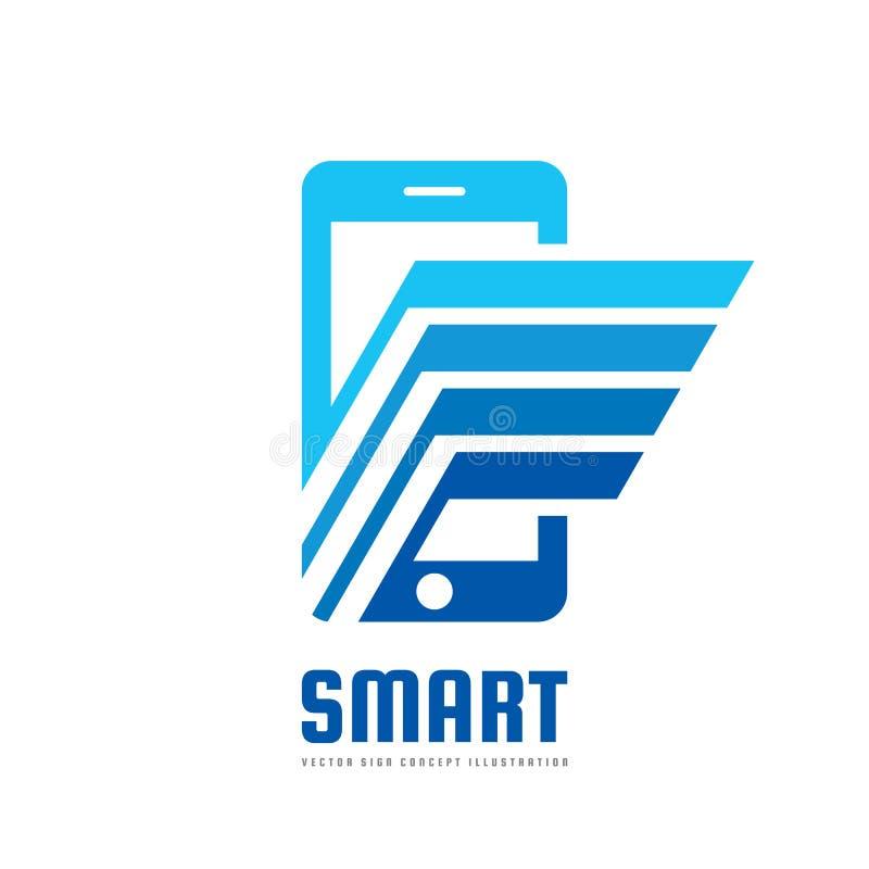 Illustration för begrepp för mall för mobiltelefonvektorlogo Smartphone idérikt tecken modern teknologi Mobiltelefonsymbol pilar  vektor illustrationer