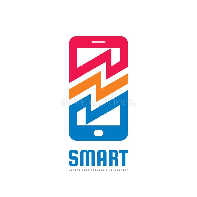 Illustration för begrepp för mobiltelefonvektorlogo Smartphone idérikt tecken modern teknologi Mobiltelefonsymbol vektor för bild vektor illustrationer