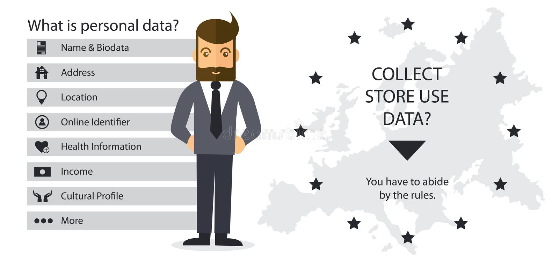 Illustration för begrepp för reglering GDPR för skydd för allmänna data - 25 Maj 2018 royaltyfri illustrationer