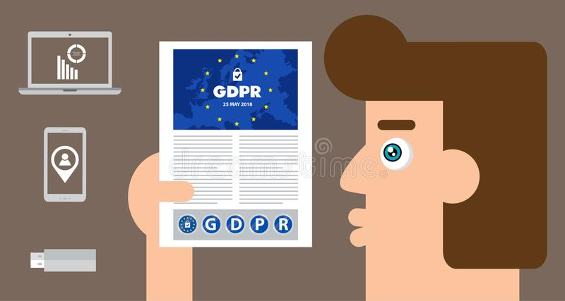 Illustration för begrepp för reglering GDPR för skydd för allmänna data - 25 Maj 2018 vektor illustrationer