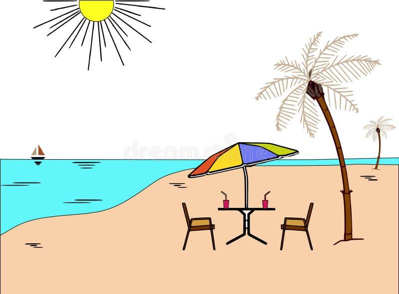 Illustration för begrepp för sommarstrandsemester vektor illustrationer