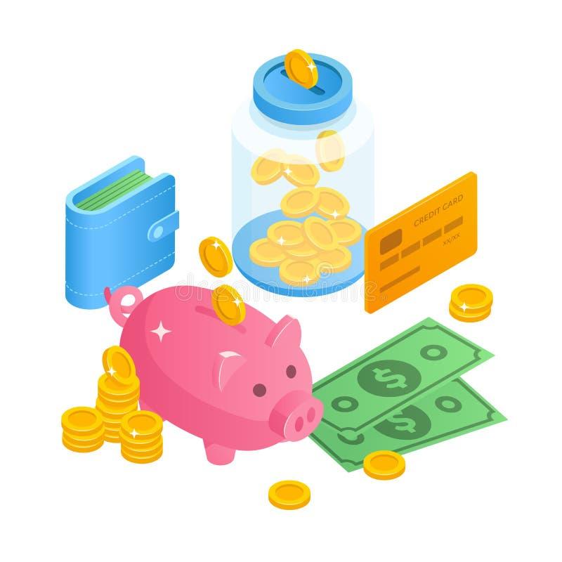Illustration för besparingpengarbegrepp i den isometriska designen 3D Spargris krus av pengar, kassa, mynt, plånbok med pengar stock illustrationer