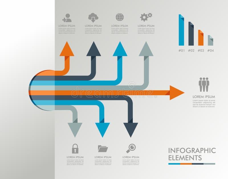 Illustration för beståndsdelar för Infographic mall grafisk. vektor illustrationer