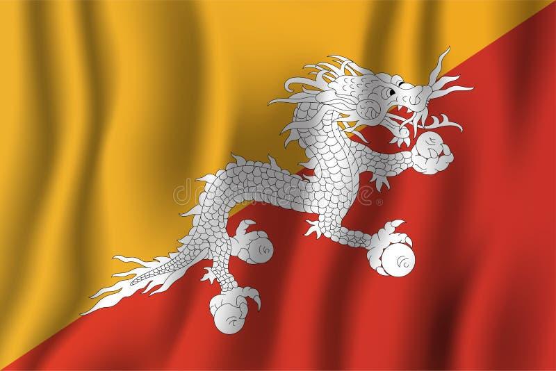 Illustration för Bhutan realistisk vinkande flaggavektor Nationell räkning stock illustrationer