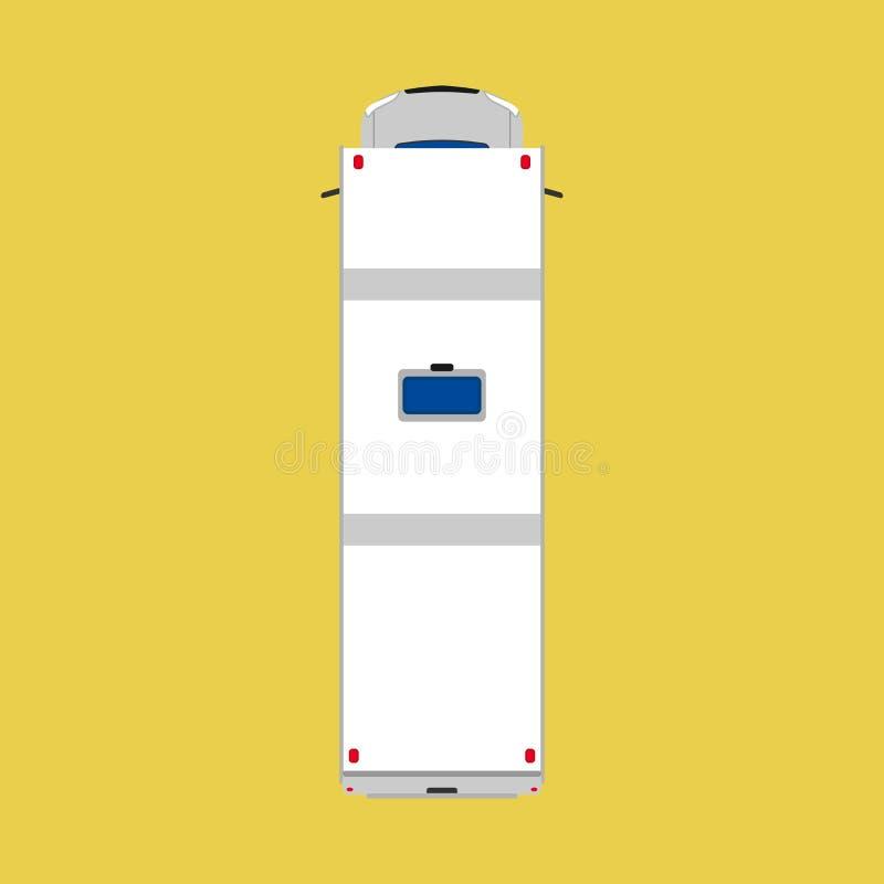 Illustration för bil för bästa sikt för campareskåpbil Buss för sommar för semestermedellopp Vit för husvagntransportlastbil Plan royaltyfri illustrationer