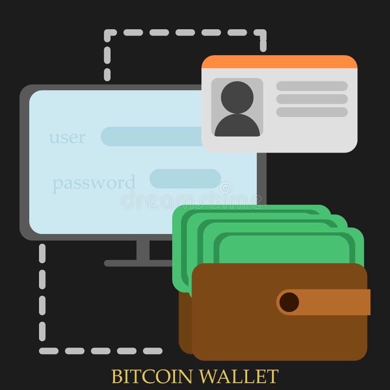 Illustration för Bitcoin plånbokvektor royaltyfri illustrationer