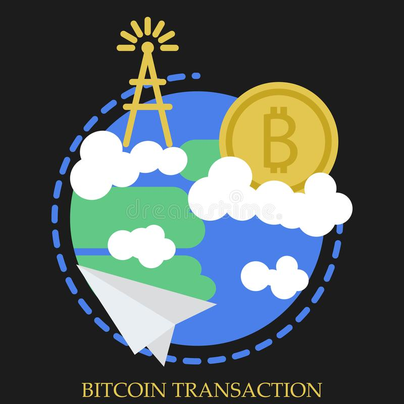 Illustration för Bitcoin transaktionsvektor royaltyfri illustrationer