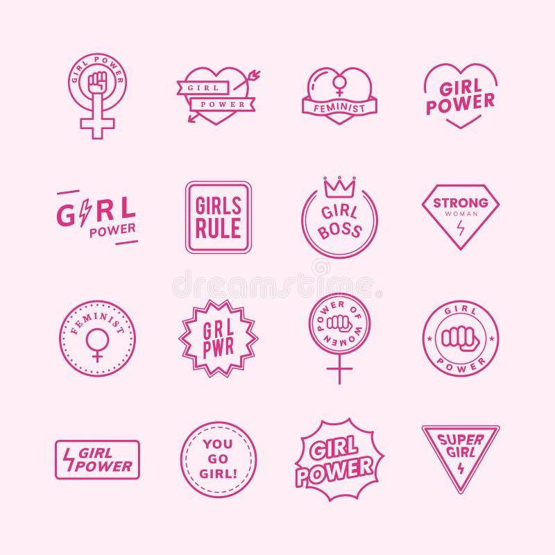 Illustration för blandade emblem för flickamakt fastställd vektor illustrationer