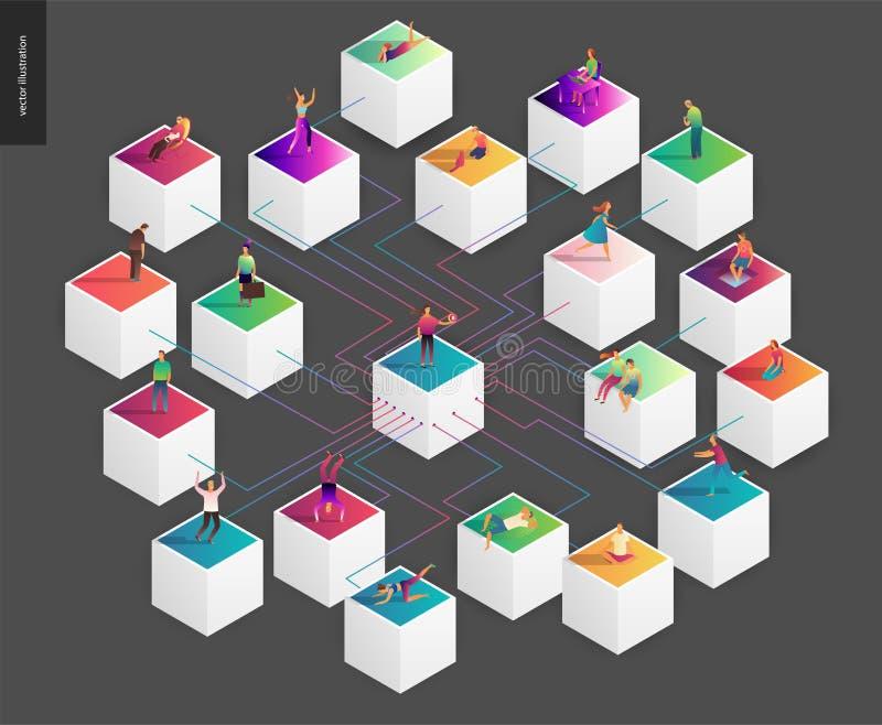Illustration för Blockchain begreppsvektor vektor illustrationer