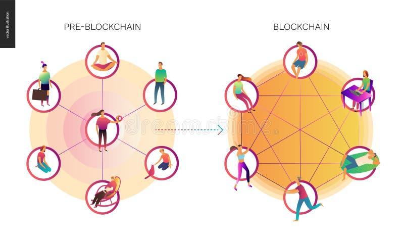 Illustration för Blockchain begreppsvektor royaltyfri illustrationer