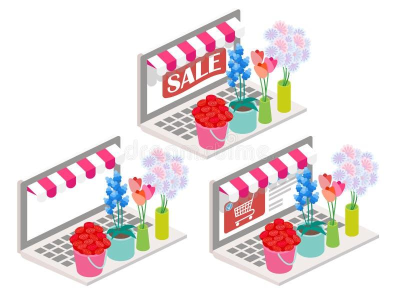 Illustration för blommaonline-isometrisk vektor 3d royaltyfri illustrationer