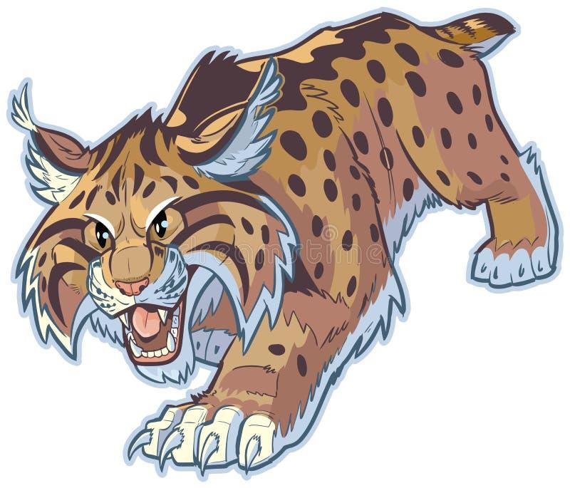 Illustration för bobcat- eller vildkattvektormaskot stock illustrationer