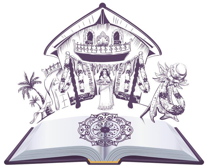 Illustration för bok för lycklig ferie för ugadi indisk öppen royaltyfri illustrationer