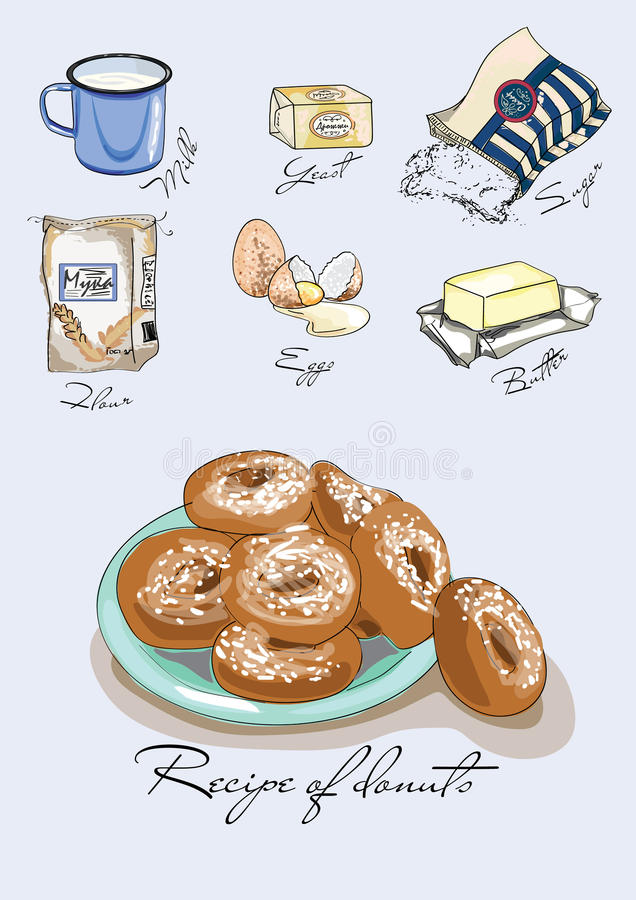 Illustration för boken Recept av donuts Ingredienser för donuts Målat recept stock illustrationer