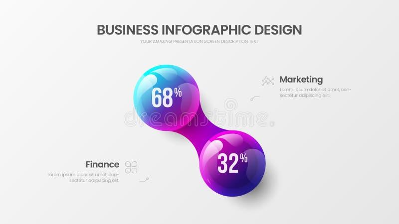 Illustration för bollar för vektor 3D för presentation för alternativ för affär 2 infographic färgrik Orientering för design för  royaltyfri illustrationer