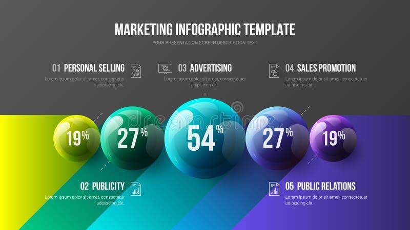 Illustration för bollar för vektor 3D för presentation för fantastiskt alternativ för affär 5 infographic färgrik royaltyfri illustrationer