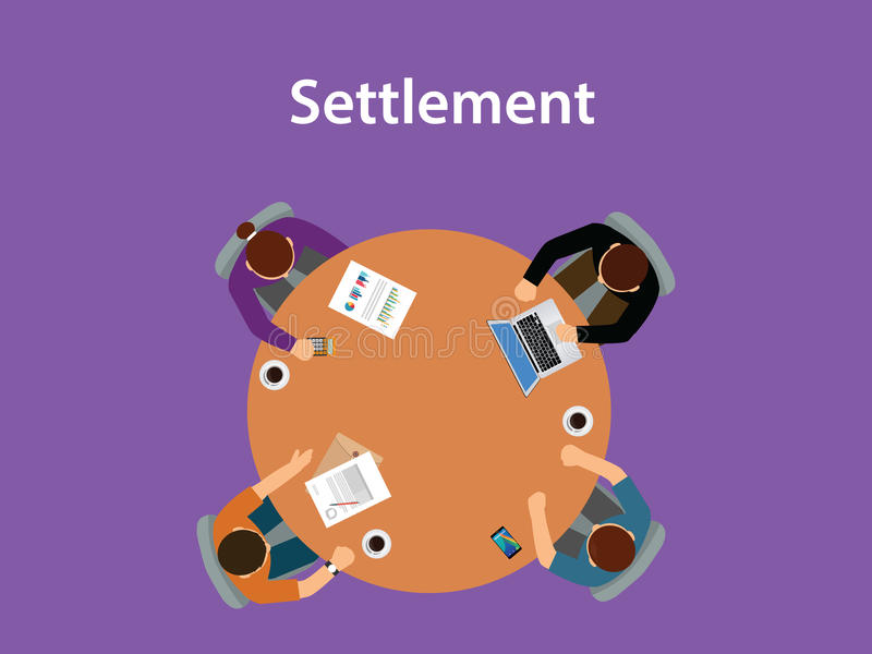 Illustration för bosättningbegreppsdiskussion med för folk som överst möter på en tabell med skrivbordsarbeten av tabellen stock illustrationer