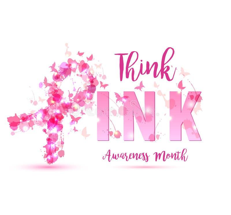 Illustration för bröstcancermedvetenhetbegrepp: rosa bandsymbol royaltyfri illustrationer