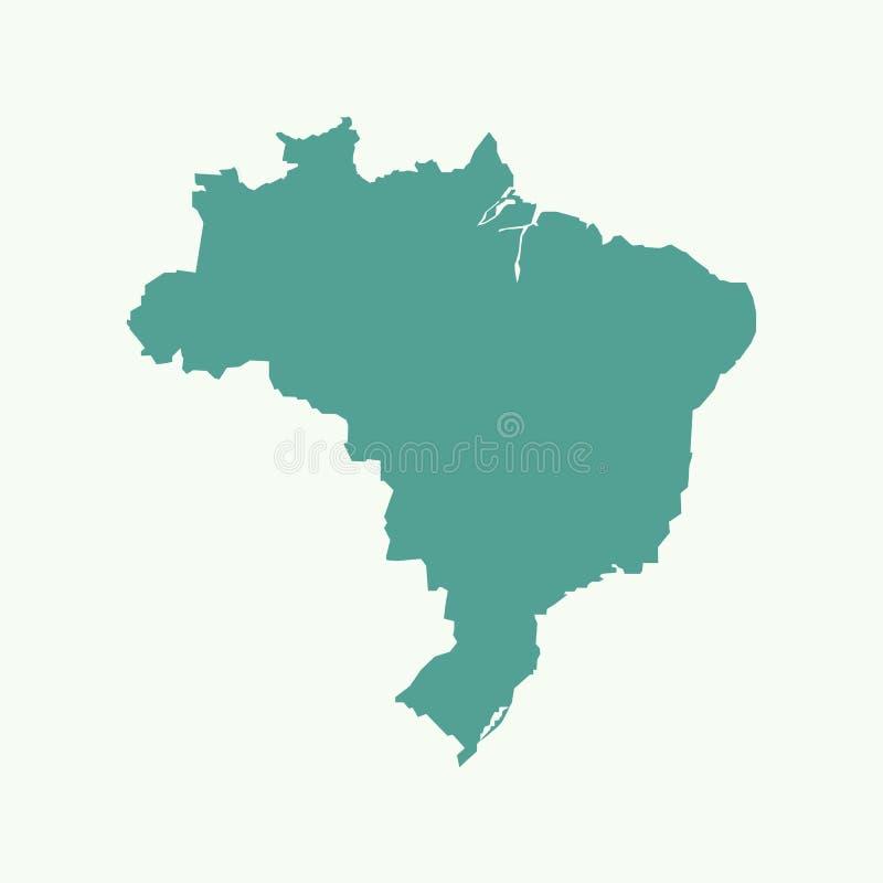 Illustration för Brasilien översiktsvektor stock illustrationer