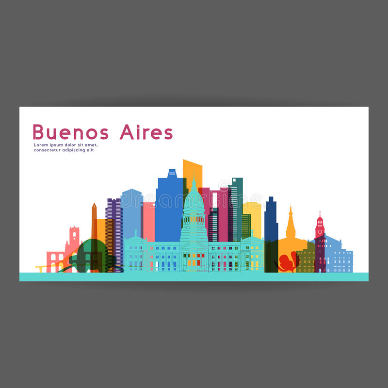 Illustration för Buenos Aires färgrik arkitekturvektor stock illustrationer