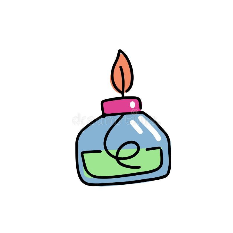 Illustration för Burnewith brand- och filtsymbol Kemisk utrustning i plan färg skisserade utdragen barnslig klotterstil för hand  stock illustrationer
