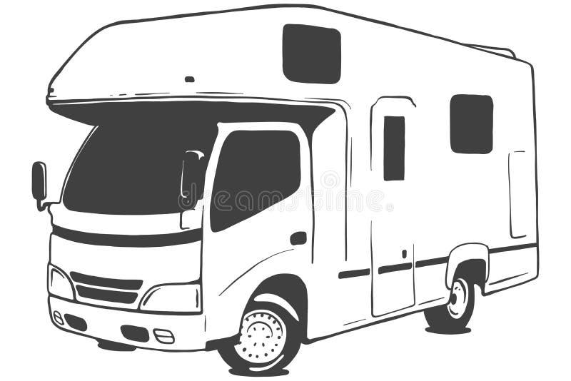Illustration för Campervan vektorsvart som isoleras på vit bakgrund illustratören för illustrationen för handen för borstekol gör stock illustrationer