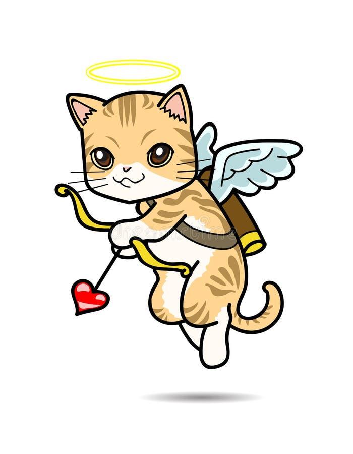 Illustration för Cat Cupid vektortecknad film stock illustrationer
