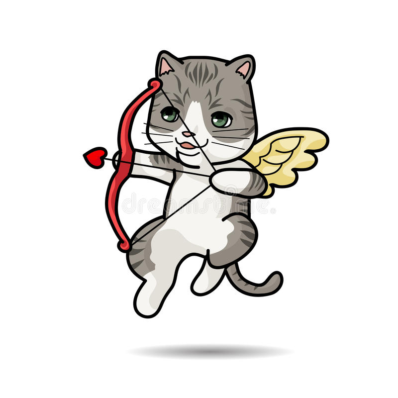 Illustration för Cat Cupid vektortecknad film royaltyfri illustrationer