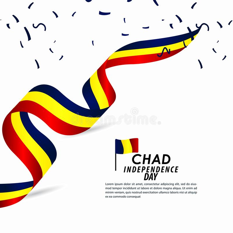 Illustration för Chad Independence Day Celebration Vector malldesign royaltyfri illustrationer