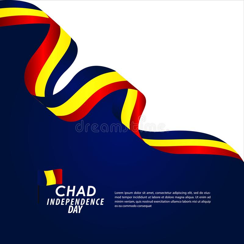 Illustration för Chad Independence Day Celebration Vector malldesign stock illustrationer