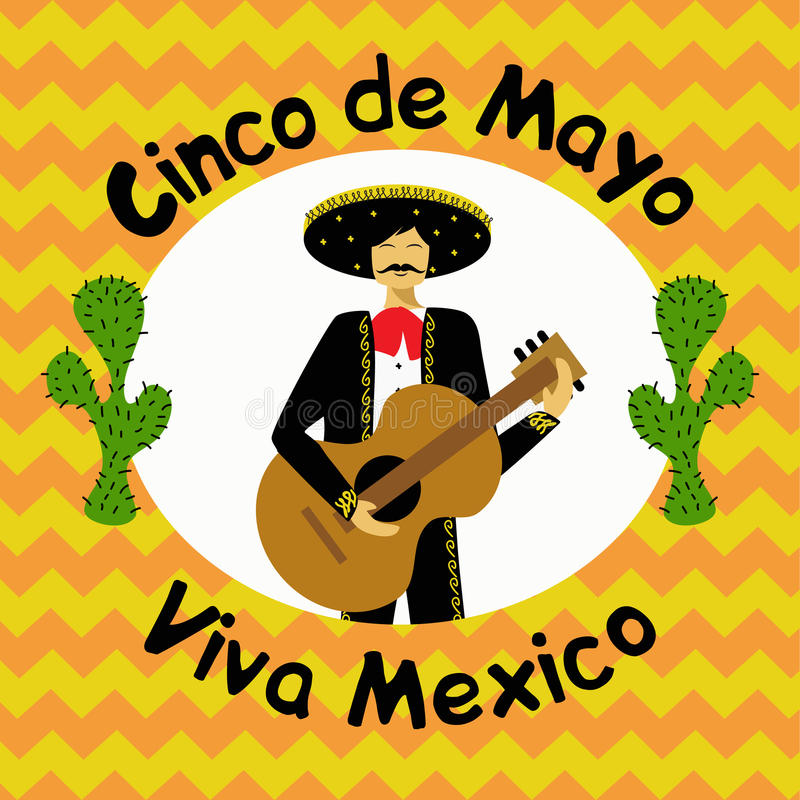 Illustration för Cinco de Mayo Mexican ferievektor royaltyfri illustrationer