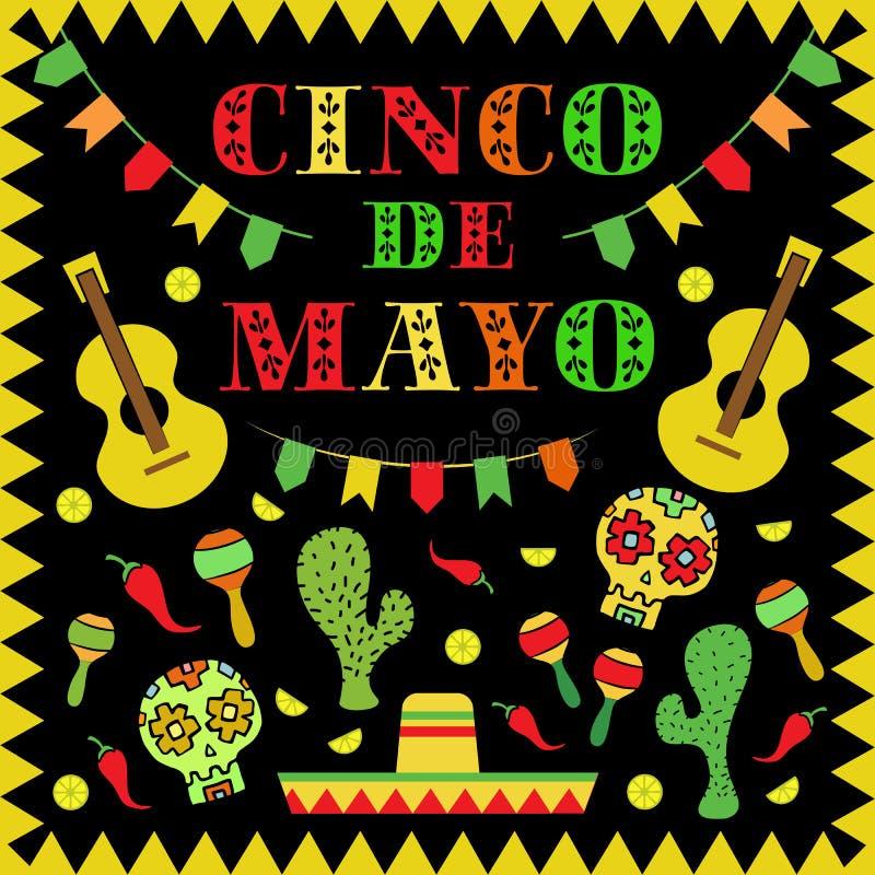 Illustration för Cinco de Mayo Mexican ferievektor vektor illustrationer