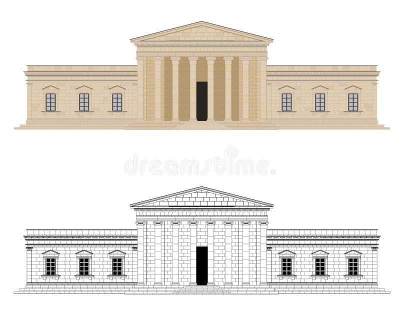 Illustration för Classicistslottvektor royaltyfri illustrationer