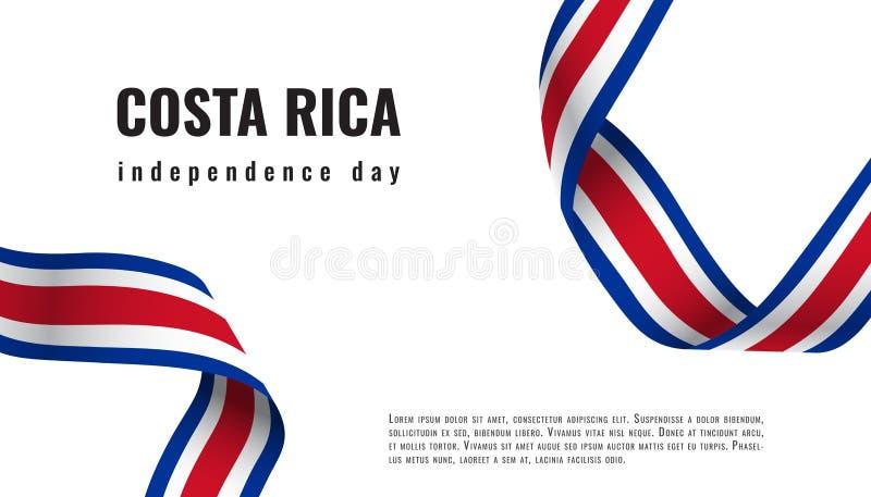 Illustration för Costa Rica Independence Day bandbaner royaltyfri illustrationer