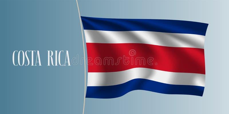 Illustration för Costa Rica vinkande flaggavektor stock illustrationer