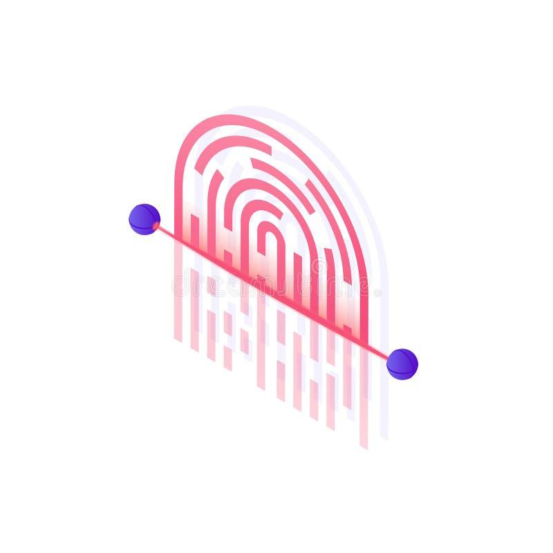 Illustration för Cybersäkerhetsbegrepp i designen 3d Fingeravtryck som avläser den isometriska illustrationen som isoleras på vit stock illustrationer