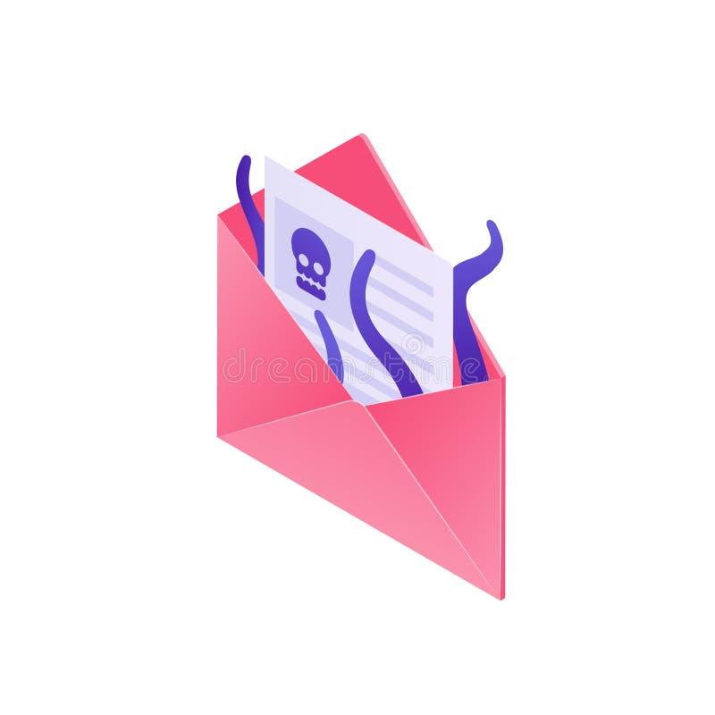 Illustration för Cybersäkerhetsbegrepp i designen 3d Phishing för data som hackar online-svindel Virusemail, isometriskt kuvert stock illustrationer