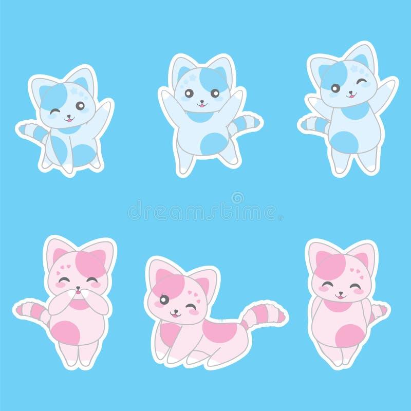 Illustration för dag för valentin` s med gulliga blåa och rosa katter stock illustrationer