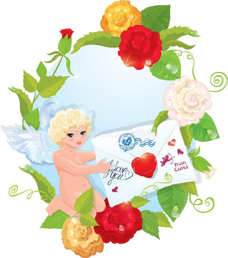 Illustration för dag för valentin` s med rosor, ängel och vektor illustrationer