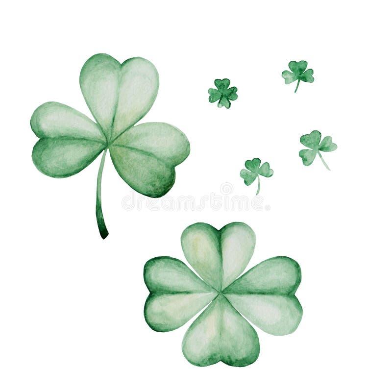 Illustration för dag för vattenfärgSt Patrick ` s vektor för prydnad för illustration för green för bakgrundsväxt av släkten Trif stock illustrationer