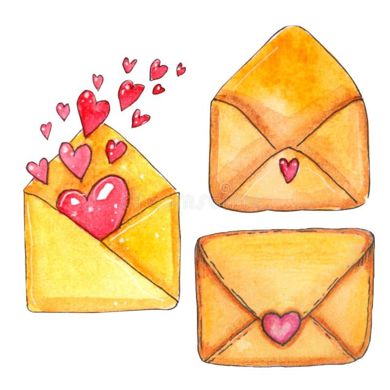 Illustration för dag för vattenfärgSt-valentin stock illustrationer